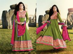PartyWear Embroidered  Green Faux Georgette Salwar Kameez Dress Material