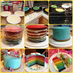 Rainbow cake! My Little Pony theme. Used food coloring gel for the batter and buttercream frosting. 2 cake boxes 3 colors per box about 15-20 minutes in the oven at 350. Enjoy!!!