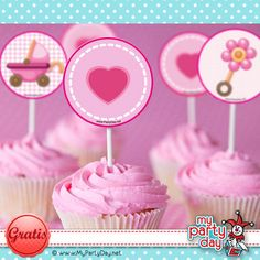 Cupcake toppers for a Baby Shower / Toppers para cupcakes para un baby shower de niña Baby Shower, Girl Shower, Mini Cakes, Communion, Holi, Showers, Party Favors, Party Ideas, Diy