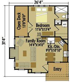 Cottage With Barn Doors And Loft - 92365MX floor plan - Main Level