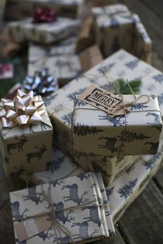 Blue & White Reindeer Christmas Gift Wrapping Paper