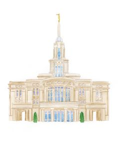 Payson Utah LDS Temple Watercolor Print || Custom || Wedding || Anniversary || Gift || Wall Decor || Mormon || temples || picture || art by YourFullerLife on Etsy