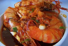 Yummy shrimp with spring onions & garlic