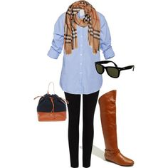 Have never thought to put my burberry scarf with a blue shirt.  I am so doing this, maybe tomorrow....