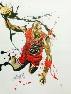 I saw a poster similar to this and decided to do my own rendition. It's a sketch of the greatest basketball player to ever live, Michael Jordan. With splash accesnts and designs across MJ and the bask