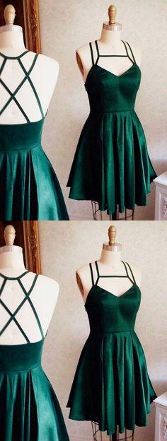 Spaghetti straps homecoming dress, short prom dress, green simple party dress 0059 - New Site Green Homecoming Dresses, Hoco Dresses, Dance Dresses, Pretty Dresses, Sexy Dresses, Beautiful Dresses, Formal Dresses, Dress Prom, Fashion Dresses