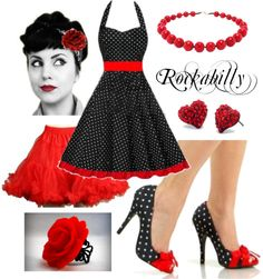 "Ryleigh's wardrobe:  ""Black and Red Polka Dot Rockabilly"" by costumelicious on Polyvore. This sexy-sassy-cute polka dot rockabilly dress outfit works on pretty much all body types and is super easy to put together, starting with our sexy retro pinup shoes and red fluffy petticoat! #Rockabilly #PolkaDot"