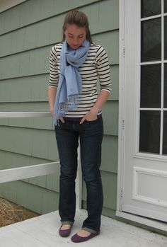 striped shirt + light-colored scarf