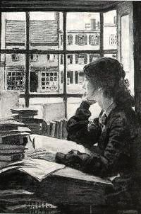 """""""Young Woman Gazing"""".  Artist: Jessie Willcox Smith, (American, 1863-1935).  Charcoal and wash illustration, in Scriber's Magazine, December, c.1900. ~ {cwlyons} ~ (Image: Illustrated Gallery)"""