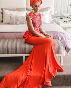 African Queen 👑 from - ❤️💃🏽 SA in a fab dress by for her traditional wedding! African Wedding Attire, African Attire, African Fashion Dresses, African Dress, South African Traditional Dresses, Traditional Wedding Dresses, African Women, Formal Wear, Bridesmaid Dresses