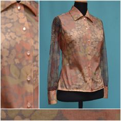 Vintage blouse 1960s / 1970s brown floral by VintageGreenClothing, £15.99