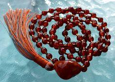 108 Red Carnelian Handmade Mala Beads Necklace - Blessed & Energized Karma Nirvana Meditation 8mm Prayer Beads For Awakening Chakra
