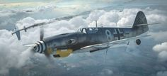 """BF """"Weisse of an unknown unit, defeats a Mustang of Sqn, FG. Germany, Winter Artwork by Antonis Karidis. Ww2 Aircraft, Fighter Aircraft, Military Aircraft, Luftwaffe, Air Fighter, Fighter Jets, Military Paint, Mustang, Focke Wulf"""