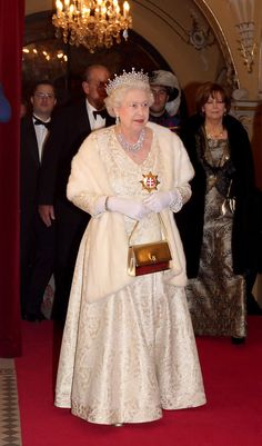 Queen Elizabeth II attends a State Banquet at the Philharmonic Hall on the first day of a tour of Slovakia on October 2008 in Bratislava, Slovakia. The Queen and the Duke are on a two day tour of. Get premium, high resolution news photos at Getty Images Hm The Queen, Her Majesty The Queen, Save The Queen, King Queen, Queen Liz, Princess Elizabeth, Queen Elizabeth Ii, Elizabeth Queen Of England, Princess Diana