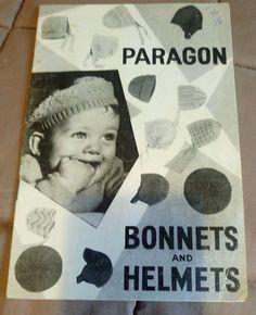 Paragon Baby Bonnets & Helmets vintage knitting pattern winter hats #Paragon
