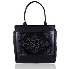 Practical black shoulder bag, different textures, big in size