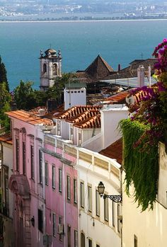 Lisbon, over the red roofs, with a river view Portugal
