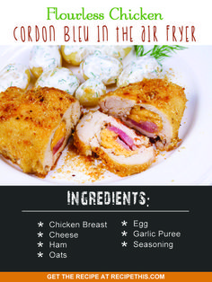 Airfryer Recipes | flourless chicken cordon bleu in the air fryer recipe from RecipeThis.com