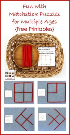 Montessori-inspired activities with matchstick puzzles. Ideas for matchstick math for multiple ages using Spielgaben wooden sticks instead of matchsticks.