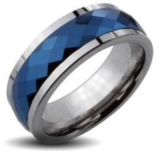 Tungsten Carbide Blue IP Prism Cut Spinner Ring