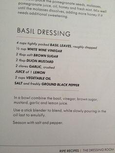 White Wine Vinegar, Basil Leaves, Pomegranate Juice, Fresh Mint, Brown Sugar, Salad Recipes, Canes Sauce