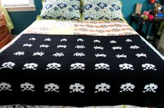 Space Invaders Throw. via Etsy. #home #craft