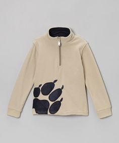 Look what I found on #zulily! Tan Paw Print Fleece Pullover - Toddler & Boys #zulilyfinds