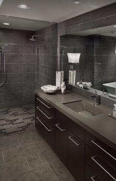 Masculine bathroom.  #bathroom #gray #tile
