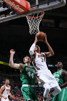 Giannis Antetokounmpo #34 of the Milwaukee Bucks goes to the basket against the Boston Celtics on April 15, 2015 at the BMO Harris Bradley Center in Milwaukee, February. (Photo by Gary Dineen/NBAE via Getty Images)