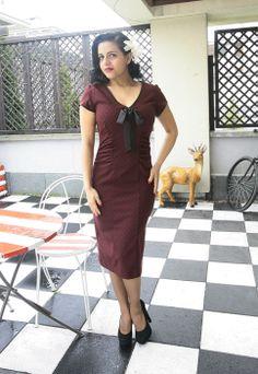 Burgundy & Black Polka Dot Retro inspired Veronica Dress http://www.raspberryheels.com/shop/produkt,en,dresses,dress-veronica-burgundy.html