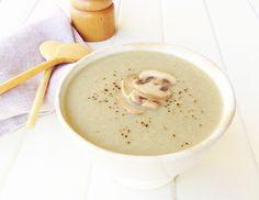 Crema de champiñón y calabacín | Hoy comemos sano Cheeseburger Chowder, Veggies, Soup, Cooking Recipes, Pudding, Vegan, Tableware, Ethnic Recipes, Desserts