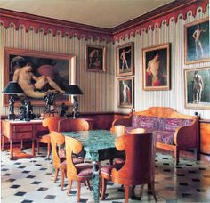 Rudolf Nureyev's dining room on Quai Voltaire, Paris - Renzo Mongiardino Interior Architecture, Interior And Exterior, La Malmaison, Nureyev, Casa Real, Interior Decorating, Interior Design, Design Art, Dining Room Inspiration