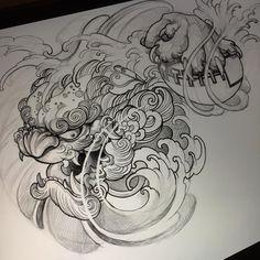 No photo description available. Japanese Mask Tattoo, Japanese Tattoo Designs, Japanese Sleeve Tattoos, Tatoo Art, Lion Tattoo, Body Art Tattoos, Tattoo Drawings, Hannya Maske, Foo Dog Tattoo Design