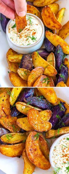 Hands down, these smoky roasted fingerling potatoes are one of my favorite potato recipes. Smoky, creamy, and perfectly golden brown potatoes served with a ridiculously tasty potato salad inspired dipping sauce. Roasted Fingerling Potatoes, Sliced Potatoes, Fingerling Potato Recipe Grill, Hasselback Potatoes, Skillet Potatoes, Cheesy Potatoes, Baked Potatoes, Potato Appetizers, Vegetable Salad