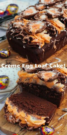 An easy Creme Egg Loaf Cake with a Chocolate Sponge, Creme Egg themed Buttercream, and Creme Eggs! Desserts Ostern, Köstliche Desserts, Dessert Recipes, Plated Desserts, Cake Recipes, Creme Egg Cake, Creme Eggs, Chocolate Chip Banana Bread, Chocolate Sponge