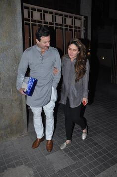Greying Together! Saif-Kareena Bowl us with their Color Coordinated Outfits! Kurta Pajama Men, Kurta Men, Salwar Kurta, Indian Men Fashion, Mens Fashion Suits, Men's Fashion, Bollywood Couples, Bollywood Fashion, Indian Groom Wear