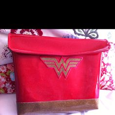 Wonder Woman laptop case! Red sparkly vinyl with a fuzzy inner lining.