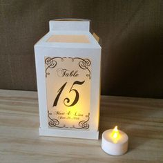 Set of 4 / Set of 6 Personalized 4-Sided Table Number Luminaries / Paper Lantern / Centerpiece - Wedding, Birthday, Rehearsal Dinner, Party