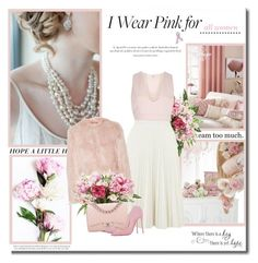 """""""I wear pink for...all women!!"""" by lilly-2711 ❤ liked on Polyvore featuring Lux-Art Silks, River Island, RED Valentino, Chanel, Christian Louboutin, Anne Klein, Bling Jewelry and Agent Provocateur"""