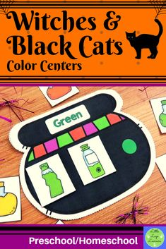These Witches Preschool Color Activities, Morning Activities, Preschool Kindergarten, Preschool Halloween, Halloween Witches, Halloween 2020, Cat Activity, Time Saving, Cat Colors