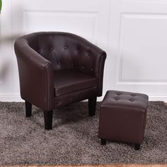 Giantex Accent Armchair Club Seat PU Leather Barrel Tub Tufted Modern Living Room Chair with Cushion and Ottoman (Coffee) Chair And Ottoman, Armchair, Living Room Chairs, Tub Chair, Modern Living, Pu Leather, Accent Chairs, Cushions, Furniture