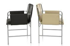 Envelope Chair. Tapicería que envuelve un marco de acero tubular soldado para crear el asiento, los laterales y el respaldo. Mober