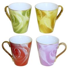 Multi Color Rose Porcelain 4 Piece Coffee or Tea Mug Set -- See this awesome image : Coffee and Stuff Mugs Set, Tea Mugs, Coffee Mugs, Moscow Mule Mugs, Coffee Drinks, Are You Happy, Drinking, Porcelain, Canning