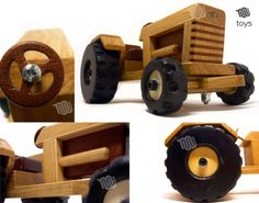 Tractor with trailer wood toy Making Wooden Toys, Plastic Animals, Wood Toys, Plank, Diy And Crafts, Wax, Etsy, Handmade Gifts, Kids