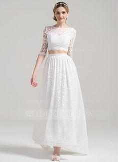 [US$ 159.59] A-Line/Princess Scoop Neck Asymmetrical Lace Wedding Dress (002084730)