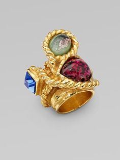 Yves Saint Laurent Arty N' Color 3-Stone Ring/Goldtone