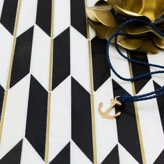 Gatsby Gold Nero & Thassos With Brass Line Marble Tile Marble Mosaic, Mosaic Glass, Mosaic Tiles, Wall Tiles, Tiling, Floor Patterns, Tile Patterns, Gatsby, Buy Tile