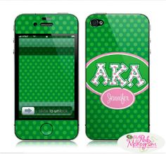 I absolutely love this phone case!//  Alpha Kappa Alpha Applique Letters on Dots from the pinkmonogram.com ($34)