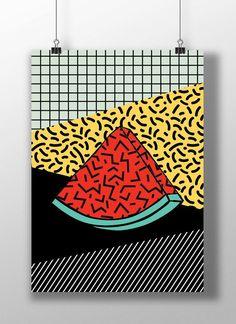 Watermelon print, fruit, Pop Art print, Funky, Abstract geometric, Modern home…