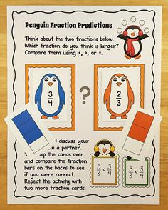 Free Penguin Fraction Predictions partner activity. Students predict which fraction is larger, discuss their reasons with a partner, and look at the fraction bars on the backs of the cards to check their answers. Makes a great informal assessment, and it's fun!